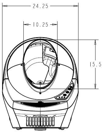 Litter-Robot Open Air Overall Dimensions front view